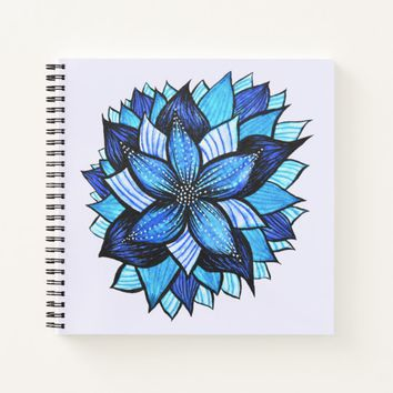 Beautiful Abstract Blue Flower Ink Drawing Notebook