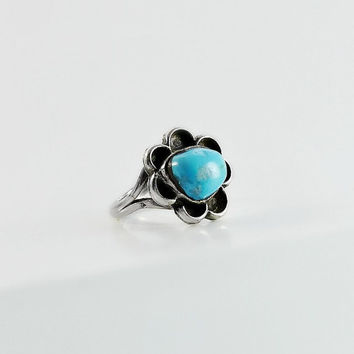 Navajo Sterling Turquoise Ring - Native American Turquoise Ring Size 6.5 - Large Turquoise Stone Ring - Flower Design Silver Turquoise Ring