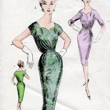 1950s Draped Sweetheart Wiggle Dress Vintage Sewing Pattern - Weigel's 2201 Bust 34 NO INSTRUCTIONS