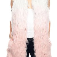 Pink Queen Womens Laides Faux Fur Leopard Sleeveless Vest Waistcoat(4 Colors)