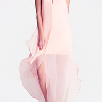 Blush Halter Neck Backless Maxi Chiffon Dress