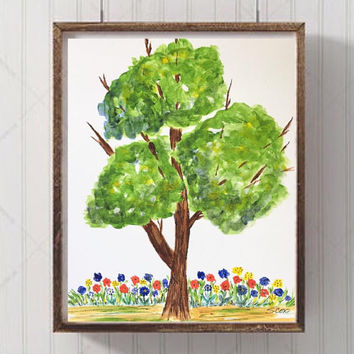 Nursery art, Playroom art, Tree and Flower painting, Nursery wall art, Whimsical Art Print, colorful Nursery Painting, park and garden