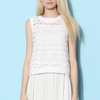 Crochet White Top with Triple Bowknot