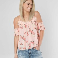 MISS ME FLORAL COLD SHOULDER TOP