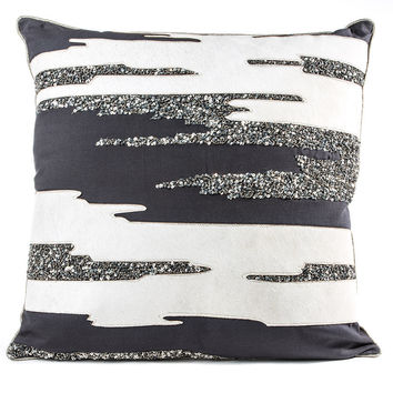 Grey Hide with Silver Beaded Sequins Pillow