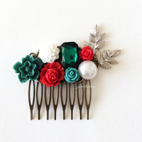 Custom Wedding Hair Accessories Bridal Hair Comb in Red Emerald Teal Green Flower Hair Slide Silver Leaf Vintage Style Rustic Bohemian WR