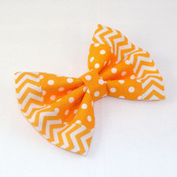 Hair Bow Lorettajos EXCLUSIVE Two Toned Orange Polka Dots trimmed with Orange Chevron Clip Rockabilly Pin up Teen Woman E210501 V