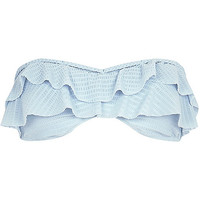 River Island Womens Light blue frilly bandeau bikini top