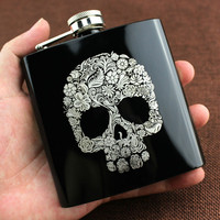 6oz Fashion Skull Design Stainless Steel Mini Hip Flask Camp Outdoor Portable