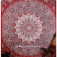 Buy Online Maroon and Grey Indian Printed Tapestry Floor Cushion