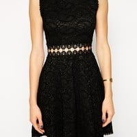 AX Paris Lace Dress with Cut Out Waist Detail