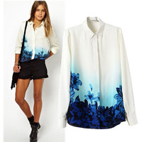 Long Sleeve Blue Print Shirt Collar Blouse