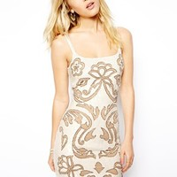 Needle & Thread Engrave Mini Dress - Nude/ chalk