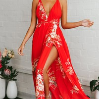 Tropical Mood Red Floral Sleeveless Spaghetti Strap V Neck X Back Slit Casual Maxi Dress