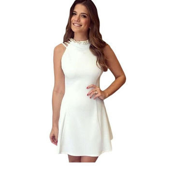 New arrival 2017 Ladies Summer Pearled High Neck Strappy Back White Flare Skater Dress Sexy Backless women dresses LC22314