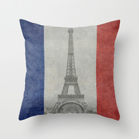 National Flag of France with Eiffel Tower  with Vintage treatment Throw Pillow by LonestarDesigns2020 - Flags Designs +