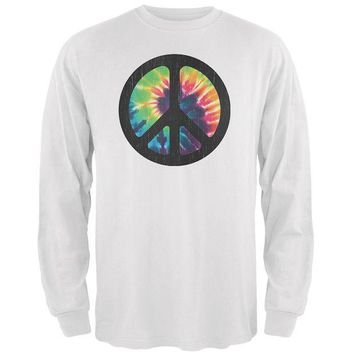 ONETOW Tie Dye Peace Sign Distressed Halftone Mens Long Sleeve T Shirt