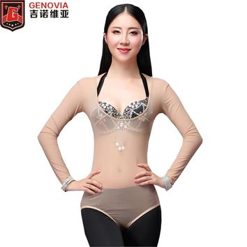 Women Sexy One Piece Leotard Belly Dance Tops Long Sleeves Bellydance Accessories Women Bodysuit Bottoming Shirt Dancewear