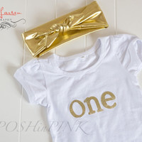 BIRTHDAY, Toddler girls gold and white lettering, Number 1, one birthday party, shirt, photo, pictures, outfit, first, 1st, chic, one, baby
