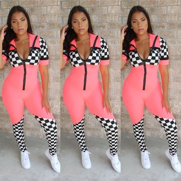 Race Star Jumpsuit Neon Pink