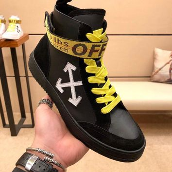 OFF WHITE  OW FW  Men Casual Shoes Boots  fashionable casual leather