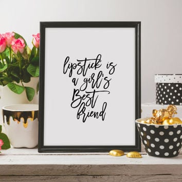 Fashion Print,Makeup Quote Print Bathroom Decor Typography Print MAKEUP Print Lipstick Print Lipstick Digital Art Beauty Print Chic print