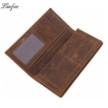 Vintage genuine leather men wallet crazy horse leather bifold long wallet 11 card holder simple design men clutch purse