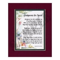 A Gift For Grandparents, #34, Touching 8x10 Poem, Double-matted in Burgundy Over Dark Green And Enhanced With Watercolor Graphics.