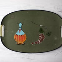 Vintage Handpainted Serving Tray   Wine Jug and Cluster of Grapes   Mid Century Modern   MCM