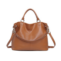 Brown Detachable Shoulder Strap Leather Bag