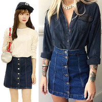 Trendy Women Button Front Mini Denim Skirt Casual High Waist Jeans Skirt HU