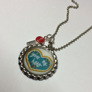 You're My Hero Bottlecap Necklace Wreck it Ralph Inspired