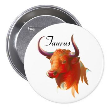 Zodiac Taurus Sign Round Button