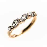 14K Gold Plated 5-Stone Leaf-shaped CZ Ring