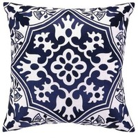 Navy Blue Floral Pillow