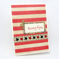 Thinking of You - Any Occasion Card - Americana Style Card - Vintage Style Card - Blank Card - Rustic Look - Red Stripes - Rustic Stars