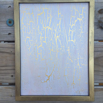 ON SALE, White Abstract, Gold Abstract, Abstract Art, Original Painting, Framed Art, Affordable Painting, Modern Art, Crackle Painting, 9x12