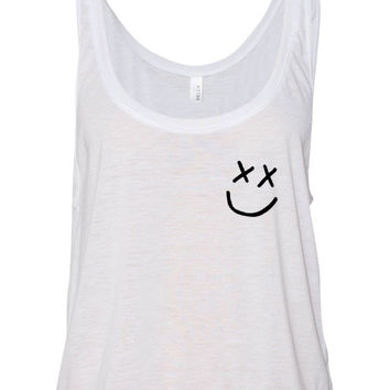 "Louis Tomlinson ""Smiley Face Logo In Corner"" Boxy, Cropped Tank Top"