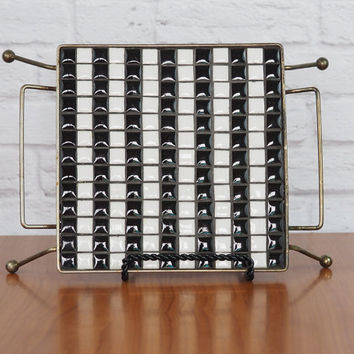 Vintage 50's Mosaic Tile Trivet with Metal Stand // Black and White Retro Atomic Kitchen