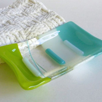 Fused Glass Soap Dish in Turquoise, White and Spring Green
