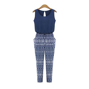 Printing Sleeveless Jumpsuit Long Pants