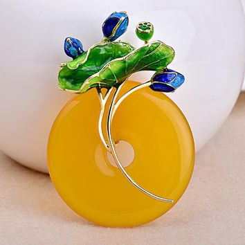 Cloisonne Lotus Bud Flower Leaf Yellow Natural Chalcedony 925 Round Pendant
