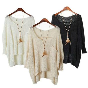 VONVJ2 MM low round collar pullovers female bats sleeve hollow-out sweater smock