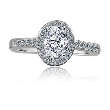 .75 CT. Radiant Oval Halo Engagement Sterling Silver Ring Simulated Diamond - Diamond Veneer 635R3231