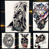 Cool Bear Beast King Waterproof Temporary Tattoo Indian Lion Warrior Fake Flash Men Tattoo Sticker 21x15CM Women Henna Tatoo