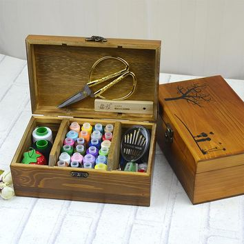 Wooden sewing box set household hand stitching solid wood boxes household sewing kit manual sewing supplies kit