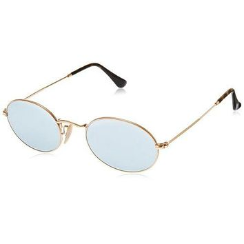 ray ban rb3547n 001 30 oval gold frame silver flash 51mm lens sunglasses