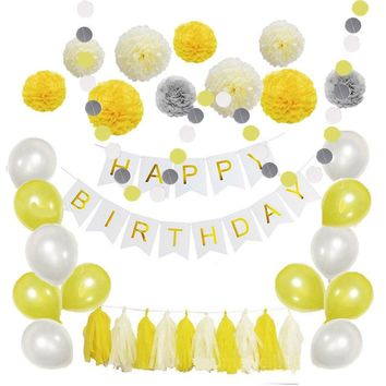 Yellow White Happy Birthday Theme Decoration Set-Kids Party Set, Yellow Baby Shower-Tissue Ball, Yellow Pom Poms, & Happy Birhday Banner Set
