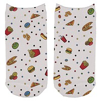 Junk Food Pattern All Over Adult Ankle Socks