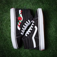 Vans Embroidered Rose Casual Fashion Canvas Shoes Sport Flats Shoes For Women Men I